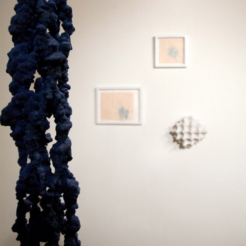 Foreground: Robert Ortbal - <b>begins with S</b>, 2012, wire, foam, wood, paint and flock, 101 x 12 x 12.5 (detail); Background: <b>Star Skeleton</b>, 2013, egg carton, resin, plaster, mica, silicon, carbide and metal flake and drawings