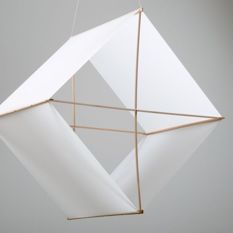 Stuart Allen - <strong>Box Kite: 23,890 cu. Inches / Approximate Volume of Air I Breathe in One Hour (at rest)</strong>, 2007, sailcloth, maple, spruce, stainless hardware