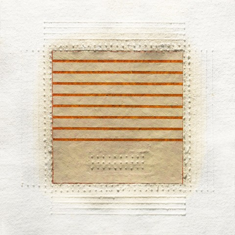 Eleanor Wood - Realignments Series #1, 2013, watercolor, waxed paper and oil on cotton paper, 10.5 x 10.5 inches