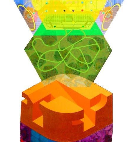 David Wetzl - <b>Holonic Ego Builds Up and Moves On</b>, 2009, acrylic on shaped wood, 48 x 24 inches