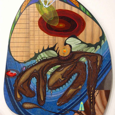David Wetzl - IM Mind, Ego, and Animalistic Body, 2011, acrylic on shaped wood, 47 x 35 inches