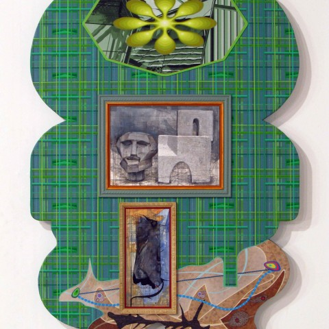 David Wetzl - <b>PreMod and PostMod Mind and Body</b>, 2011, acrylic and ink, paintings and drawings, and digital print on shaped wood, 42 x 28 inches