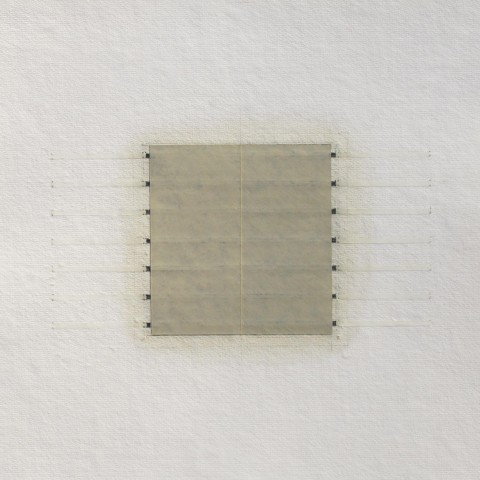 Eleanor Wood - <b>Realignments Series #10</b>, 2014, watercolor, waxed paper, oil and pencil on cotton paper, 13 x 13 inches