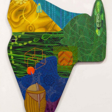 David Wetzl - <b>SCIP Moves Downward Into The Po Mod Zone To View and Save The Distraught Economic World</b>, 2011, acrylic on shaped wood, 48 x 36 inches