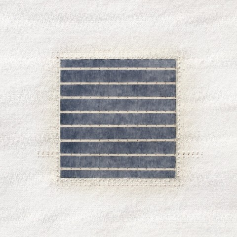 Eleanor Wood - <b>Sequels Series #3</b>, 2013-14, watercolor, waxed paper, oil and pencil on cotton paper, 13 x 13 inches