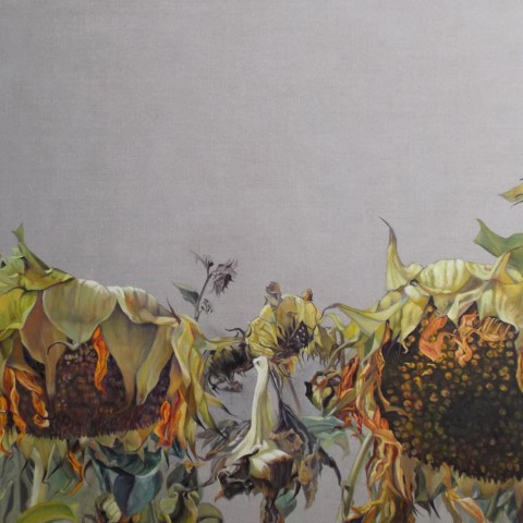 Mary Warner - <b>Sisters</b>, 2013, oil on linen, 40 x 60 inches, Sunflower Series