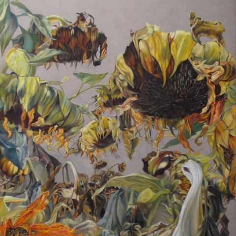 Mary Warner - <b>Window</b>, 2013, oil on sized linen, 36 x 60 inches, Sunflower Series