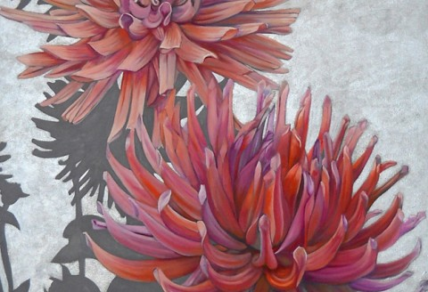 Mary Warner - Disco Garden, 2012, oil on canvas, 36 x 84 inches