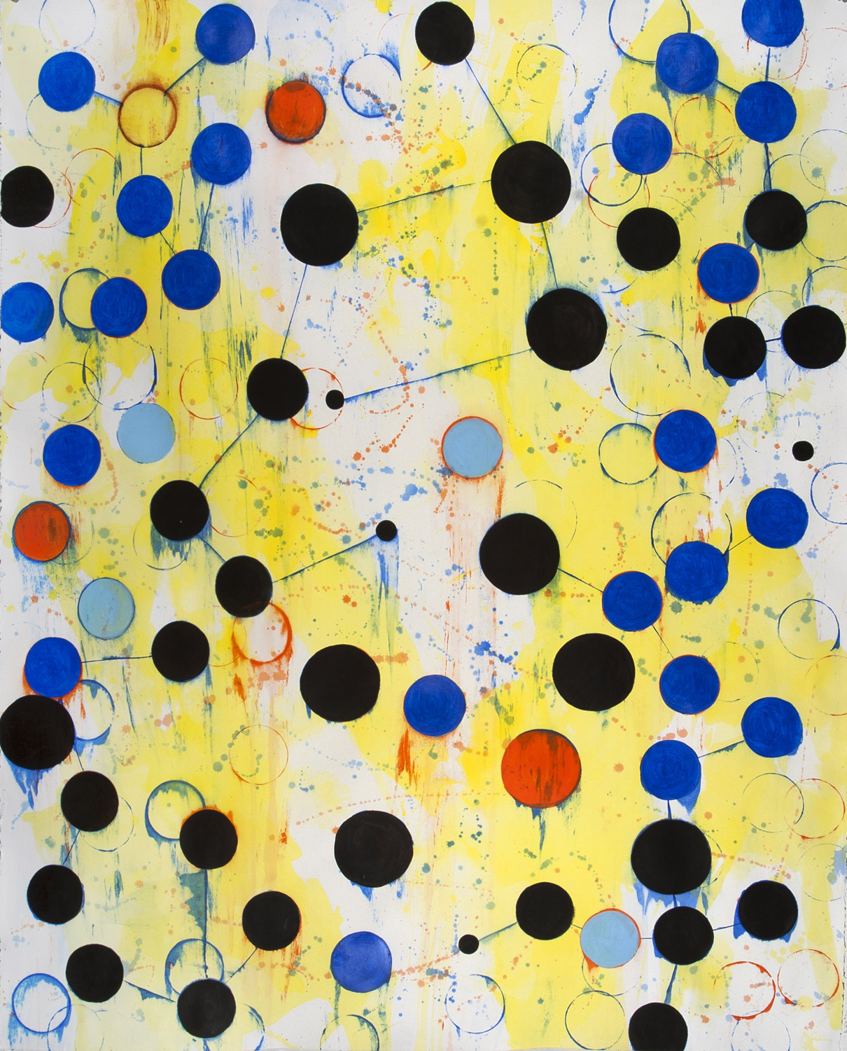 Joan Moment - <b>Dot Connection</b>, 2012, acrylic on arches paper, 42 ¼ x  52