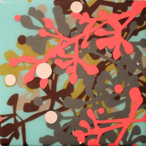 Kim Squaglia - <b>Eucalypt (Orange)</b>, 2012, oil and resin on wood panel, 60 x 60 inches