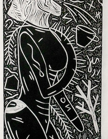 Suzanne Adan - <b>PRIDE: Crows Feet</b>, 1991, linocut on rice paper, 57.25 x 19.5 inches
