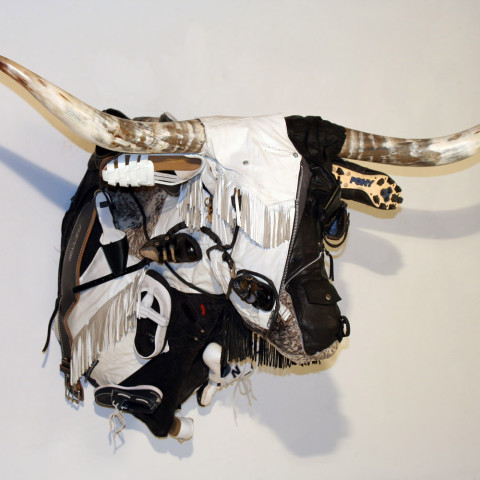 Ken Little - <b>Black and White Longhorn</b>, 2007, mixed media, 42 x 61 x 42 inches
