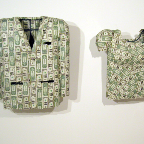 Ken Little - <b>From (suit coat)</b>, 2004, mixed media/ one dollar bills on steel frame, 39 x 34 x 8 inches; <b>To (blouse)</b>, 2004, mixed media/one dollar bills on steel frame, 32 x 33 x 10 inches