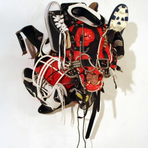 Ken Little - <b>Red, Black, and White Lion</b>, 2009, found objects/mixed media, 30 x 24 x 24 inches