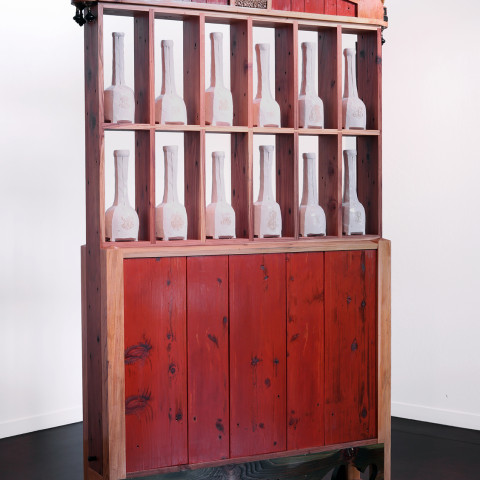 Trent Burkett - <b>Cabinet #1</b>, 2015, Misc. materials, 88 x 48 x 11 inches
